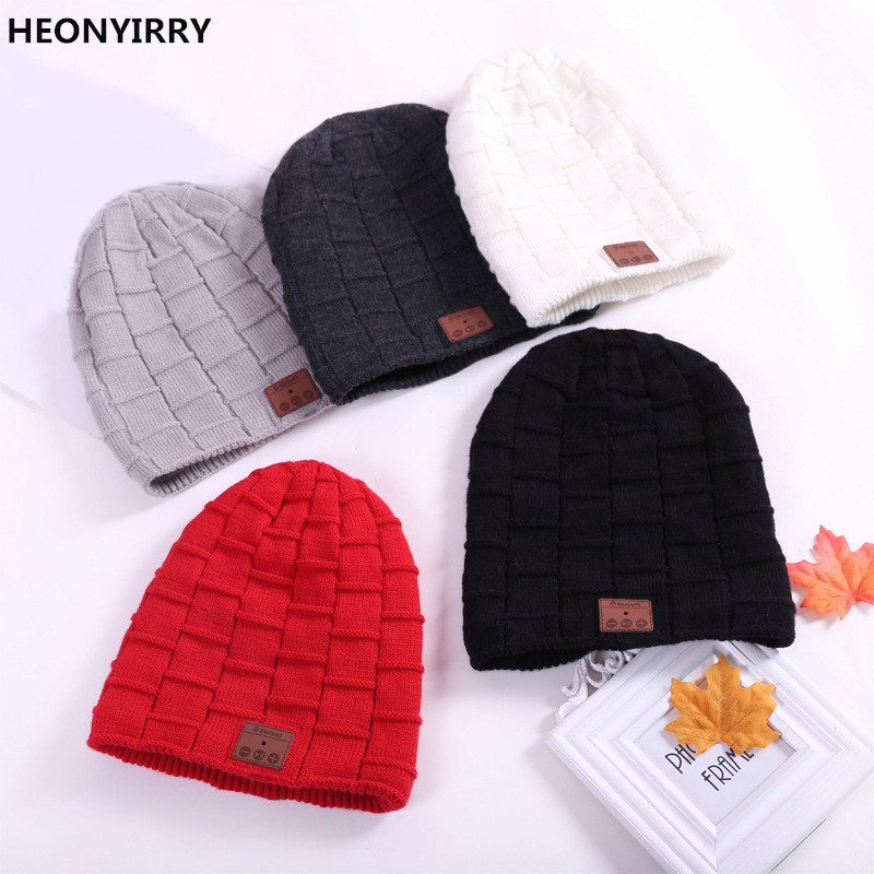 HEONYIRRY New Soft Winter Warm Hat Smart Cap Wireless Bluetooth Headset Headphone Speaker Mic Bluetooth Hat Four color Optional princess hat skullies new winter warm hat wool leather hat rabbit hair hat fashion cap fpc018