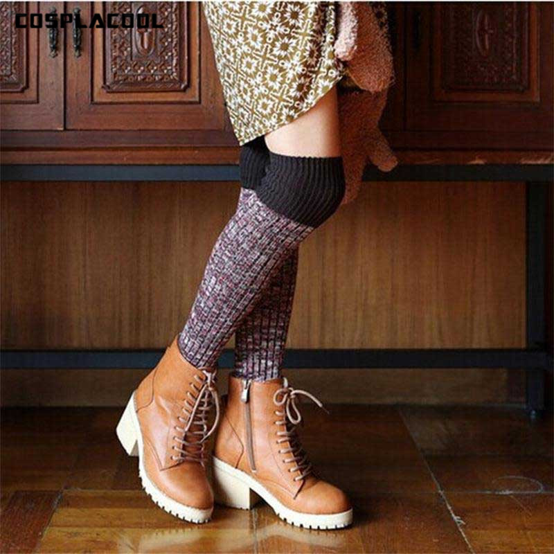 [COSPLACOOL]Thick Reto Women Fashion Hot Thigh High Socks Sexy Warm Cotton Over The Knee Socks Striped Long Stockings For Girls