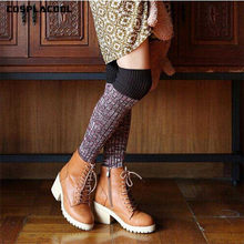 [Cosplacool] grosso reto moda feminina coxa quente meias altas sexy algodão quente sobre o joelho meias listradas longas para meninas
