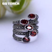 GQTORCH อัญมณีธรรมชาติกว้างแหวนพลอยสีแดงบริสุทธิ์จริง 925 เงินสเตอร์ลิงเครื่องประดับ Marcasite MULTI LAYER แหวน