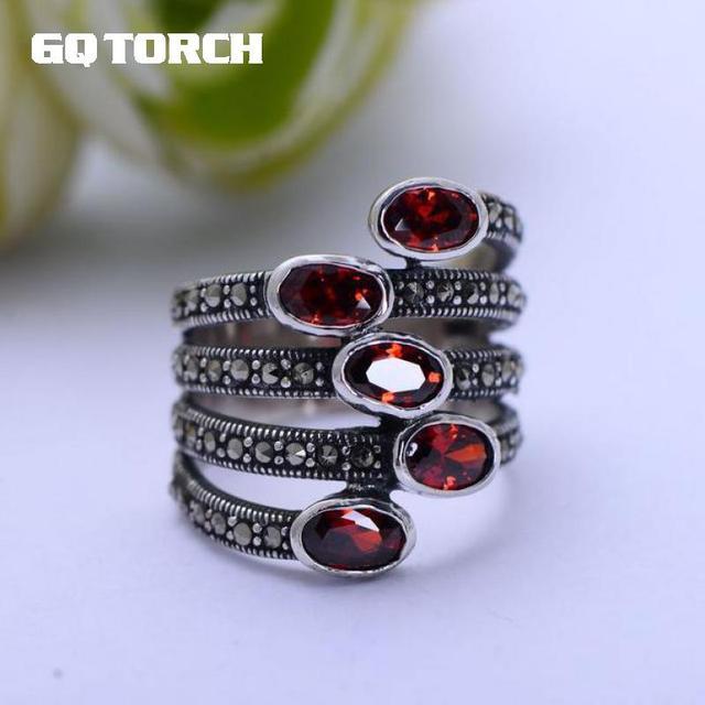 GQTORCH Natürliche Edelstein Breite Ringe Für Frauen Rot Granat Stein Echt Reine 925 Sterling Silber Schmuck Markasit Multi Schicht Ring