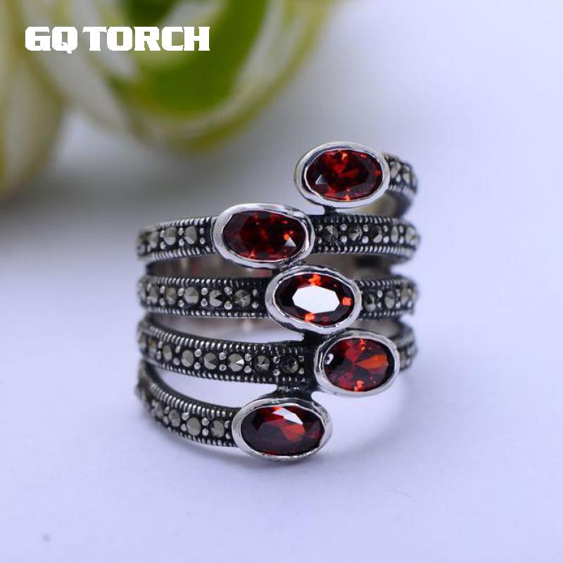 GQTORCH Natural Gemstone Wide Rings For Women Red Garnet Stone Real Pure 925 Sterling Silver Jewelry Marcasite Multi Layer Ring