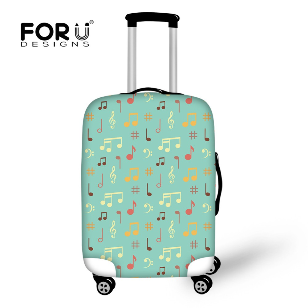 FORUDESIGNS New Travel On Road Luggage Protective Cover Music Notes Print Elastic Suitcase Covers For 18 To 30 Inch Trunk Case