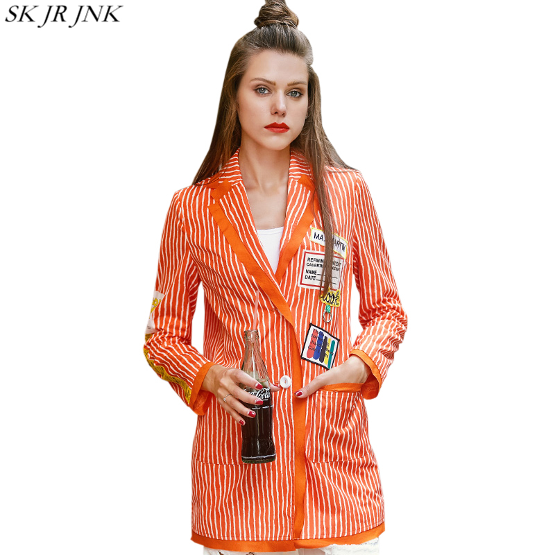 Women Blazers 2018 Spring Autumn Notched Striped Printed feminino Blazer Chic Fashion Elegant Slim Pocket Chaquetas Mujer WYF43