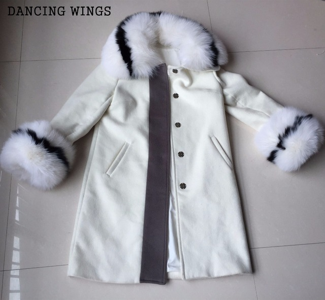 Promotion ! Catwalk Style High-end Wool Cashmere Coat Long Design Detachable Fox Fur Collar Autumn Trench White Wool Coats Women