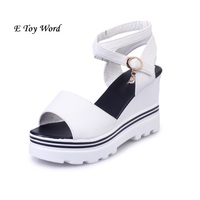 Summer Korean Muffin Fish Head Women Sandals With Platform Sandals Wild Simple Shoes Shook With Students