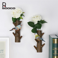Roogo wall art crafts hanging hook with artificial flower American style entrance key rack coat wall personality home decoration