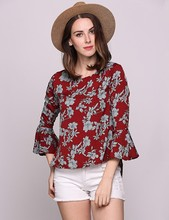 Retro Style Women Blouse Red Crew Neck Floral Printed Butterfly Long Sleeve Shirt Ladies Work Wear Fashion Loose Tops