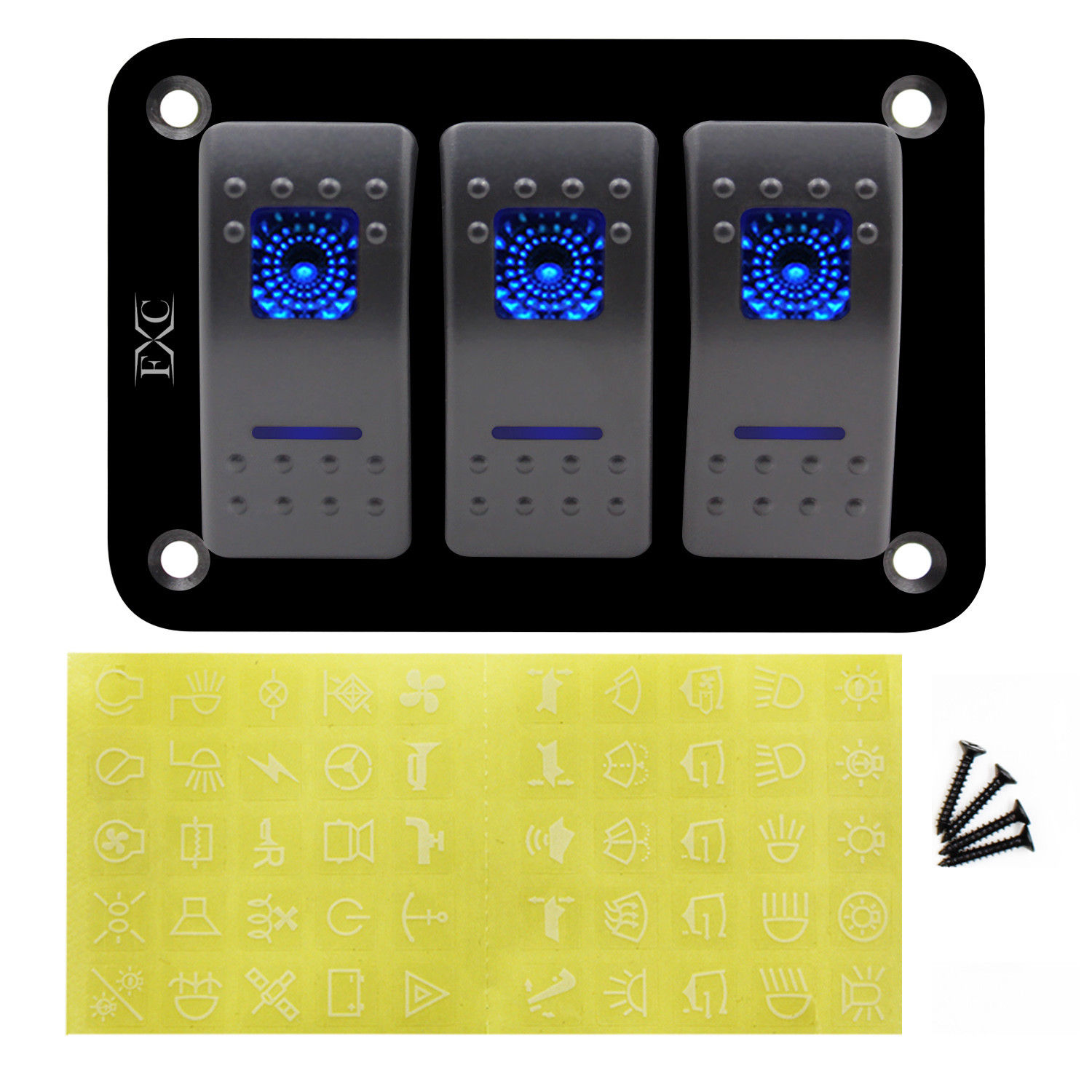 3 Gang Dual Led Light Rocker Switch Panel 12v And 24v Circuit With Switches In Parallel A Lamp Cell The Breakers Pre Wired Bar Car Caravan Boat Blue Ce Certification From