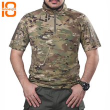 TENNEIGHT Tactical Military T Shirt Breathable Quick-drying Camouflage T-shirt short-sleeved Man hiking climbing sports shirt