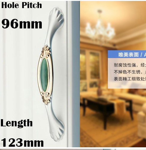 "C:C:96mm 3.78"" Length 123mm 4.84"" Jade green luxury furniture handle crystal drawer handle"