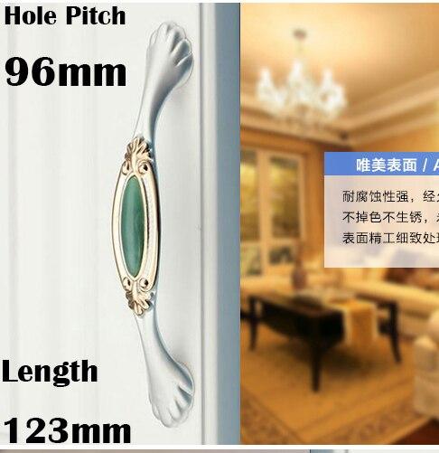 """C: C: 96mm 3.78 """"de Largo 123mm 4.84"""" Jade verde de lujo de cristal manija de los muebles del cajón mango"""