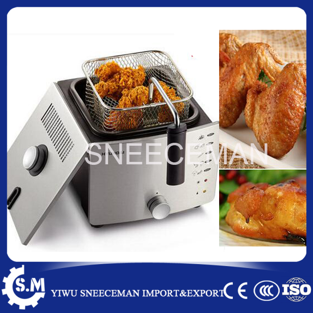 Thermostatic electric frying pan household smokeless frying machine multifunctional small frying pan electric deep fryer machine 220v 2 6l electric deep fryer household air fryer oil free and smokeless intelligent french fries machine
