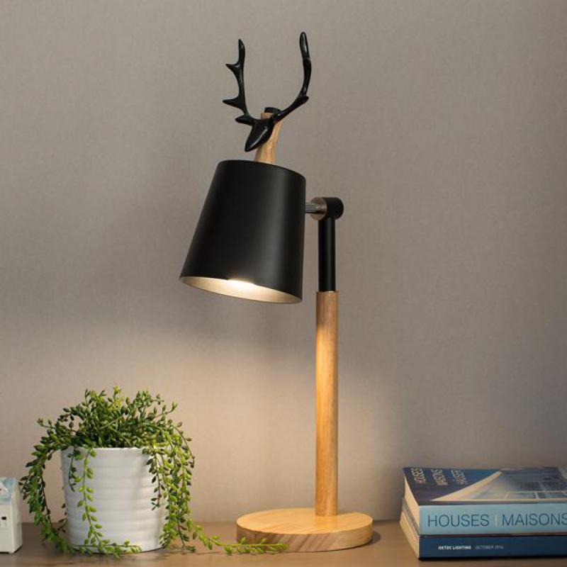 Office Anters Table Art decor Lamps study reading Wooden desk Light Dear Christmas lighting E27 wedding Kids deer table Lights