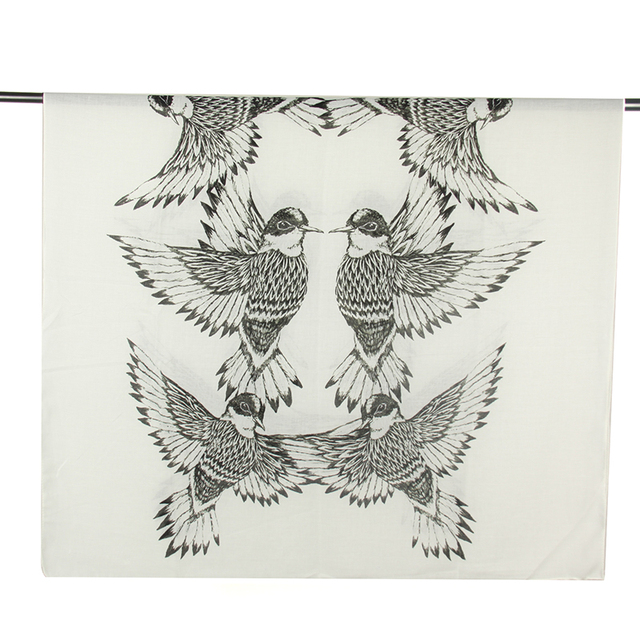 Swallow BW Cotton Scarf | Shawls and Wraps | Up to 60% Off Now