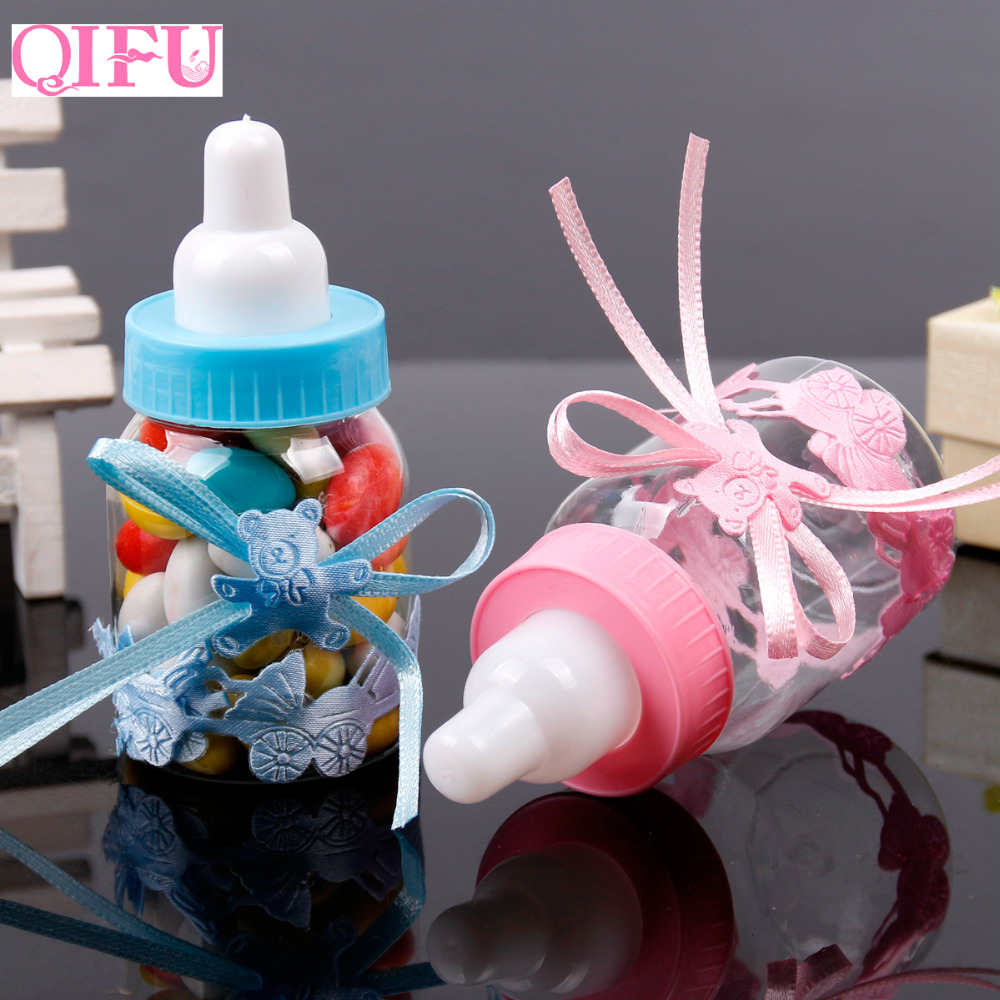 QIFU Baby Shower Candy Box Bottle Baby Feeding Bottle Birthday Decoration Baptism Gift Kids Favor Christening Birthday Party