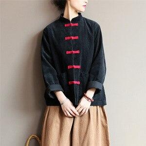 Image 3 - Johnature kobiety sztruks koszule bluzki w stylu Vintage chiński styl topy 2020 jesień nowy Solid Color przycisk luźna, wysoka wysokiej jakości koszule