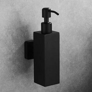 Image 1 - נוזל סבון Dispenser יד מטבח כיור סבון מיכל 304 נירוסטה שחור אמבטיה שמפו בעל קיר רכוב בקבוק