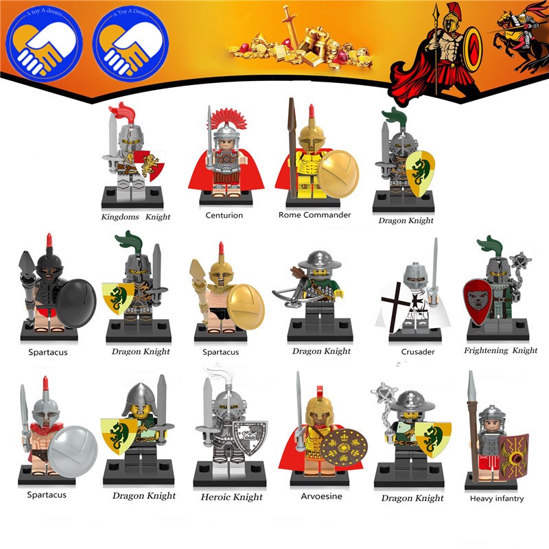 16Pcs Medieval Knights Dragon Warrior Heroes VS Rome Commander Centurion Spartacus Crusader Heavy Infantry Arvoesine Brick Block