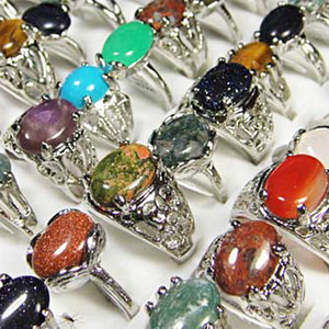 Image 4 - 150Pcs Mixed Color Natural Stone Silver Plated Rings For Women Fashion Big Whole Jewelry Bulks Lots BL020