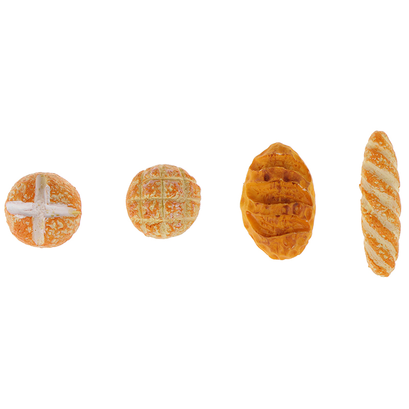 4Pcs 1/12 Simulation Bread Dollhouse Miniature Food Breakfast Snack Dessert Kitchen Toys Dollhouse Miniature