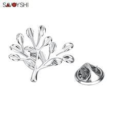 Модная брошь серебряного цвета в виде ветки дерева savoyshi