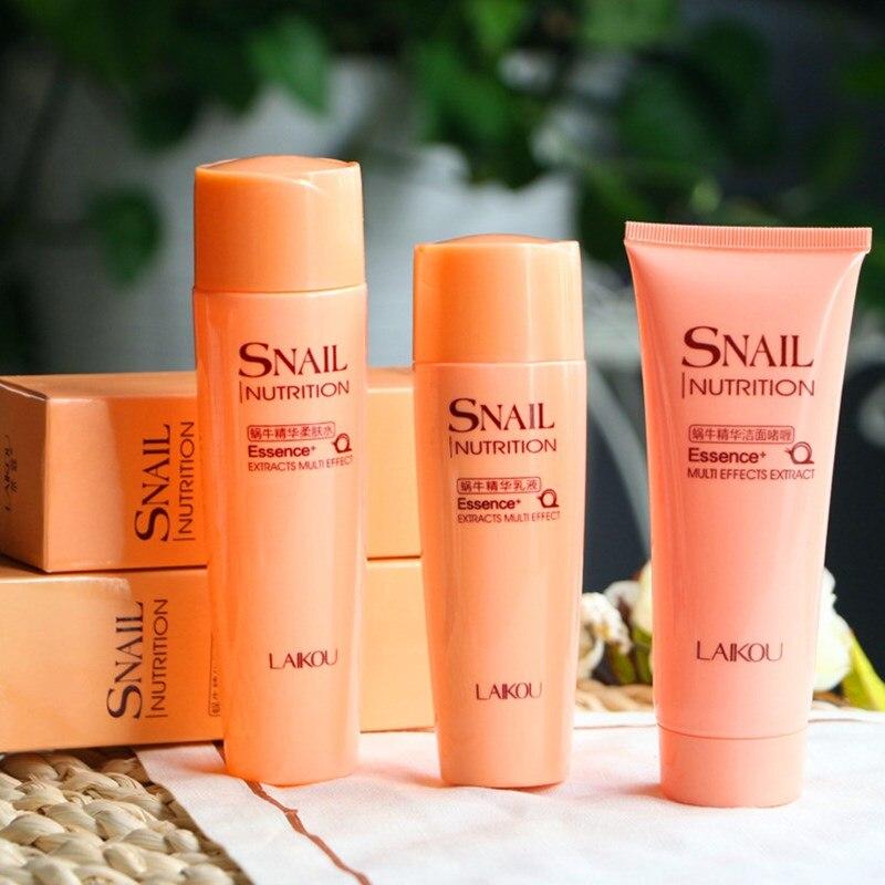 Laikou Cara Cuidado conjunto Caracol nutrición esencia extracto multi-Efecto 3 unids cosméticos limpiador facial + toner + emulsión conjunto hidratante