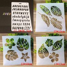 4pcs Templates Letters Numbers Stencil Bullet Journal Spray Pattern Stencils For Scrapbooking Painting Leaves