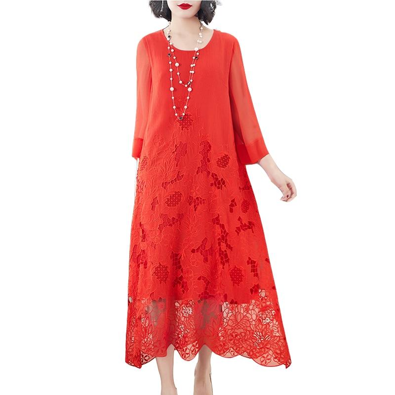 Brand Vintage Elegant Slik Dress New Spring Summer Women s Loose Silk A line Dress Women