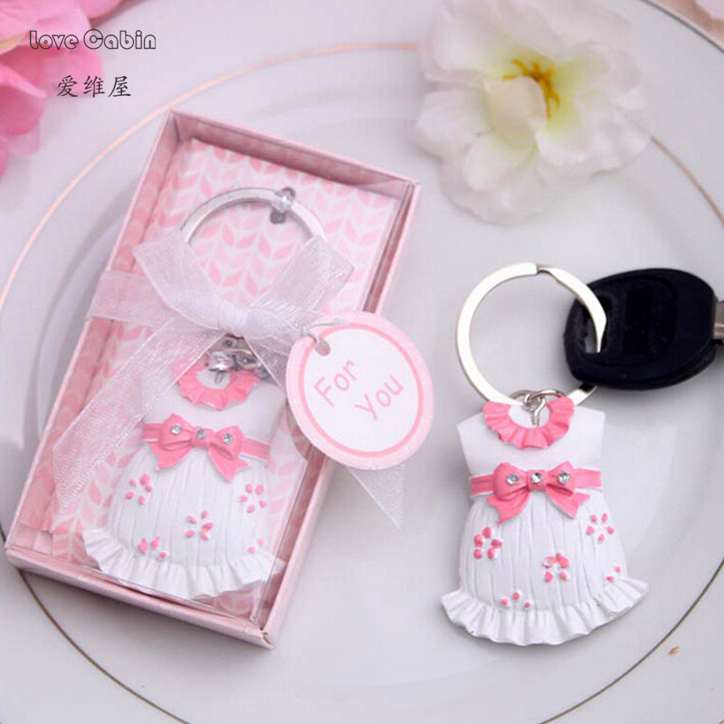 10pcs Cute-As-Can-Be Key Chain Baby Girl Shower Favors Birthday Party Giveaway Kids Christening Gift
