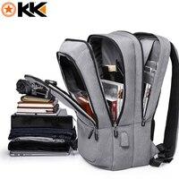 KAKA New High Capacity Polyester Travel Men Backpack Waterproof USB Charging Backpack Unisex Casual 17 3