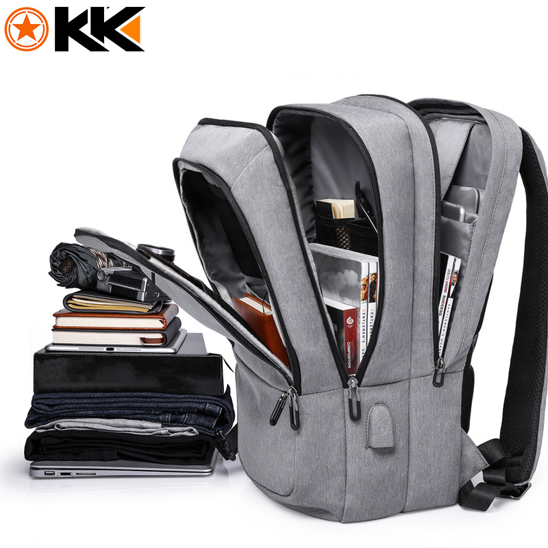 KAKA mochila hombre Casual Polyester Men Backpack Waterproof USB Charging Travel Backpack Large Capacity 17.3 Laptop Backpack