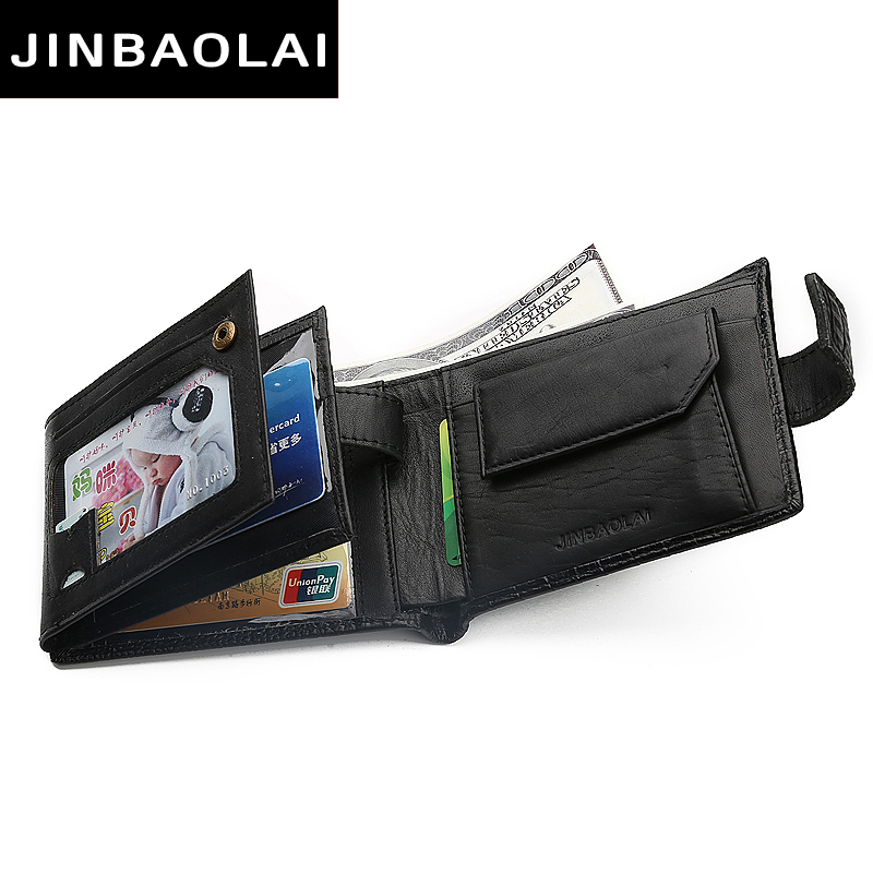 JINBAOLAI Alligator Pattern Genuine Leather Wallet Men Wallets Famous Brand Wallet Male Coin Purse Card Holder Carteira Wallets