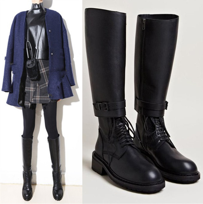 Detachable Trains Knee High: Botas Mujer 2018 Shoes Woman Leather Knee High Knight