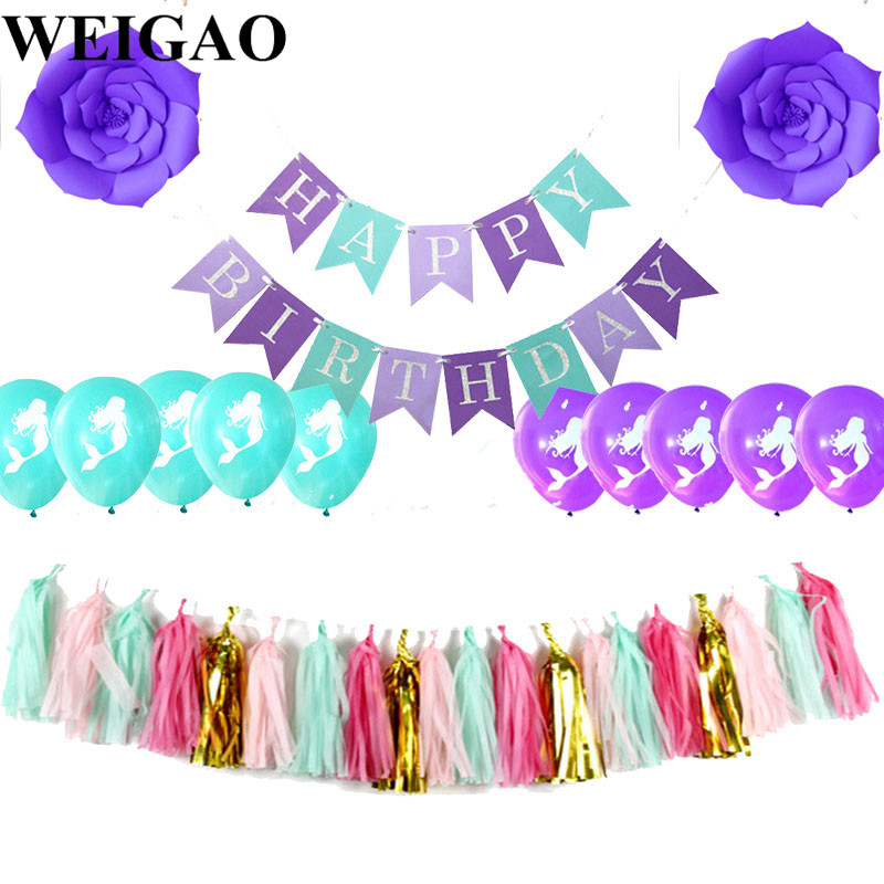 WEIGAO Happy Birthday Bunting Banner Paper Flower Tassels Garland Mermaid Theme Birthday Party Decoration Baby Shower Supplies