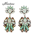 New 2016 Designer Accessories Green Rhinestone Flower Drop Large Earrings Famous Brand Jewelry