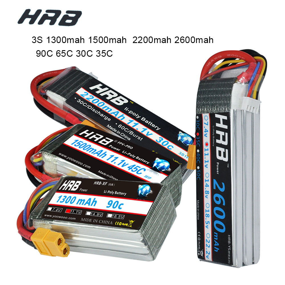 HRB RC Lipo Battery 3S 11.1V 1500mah 1300mah 2200mah 2600mah 90C 45C 65C 30C 35C Li-poly Battery For FPV RC Drones Helicopters