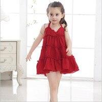 TangFar Summer Beach Girls Solid Color Sling Dresss For Kids Vestido Infantil Princess A Line Wedding