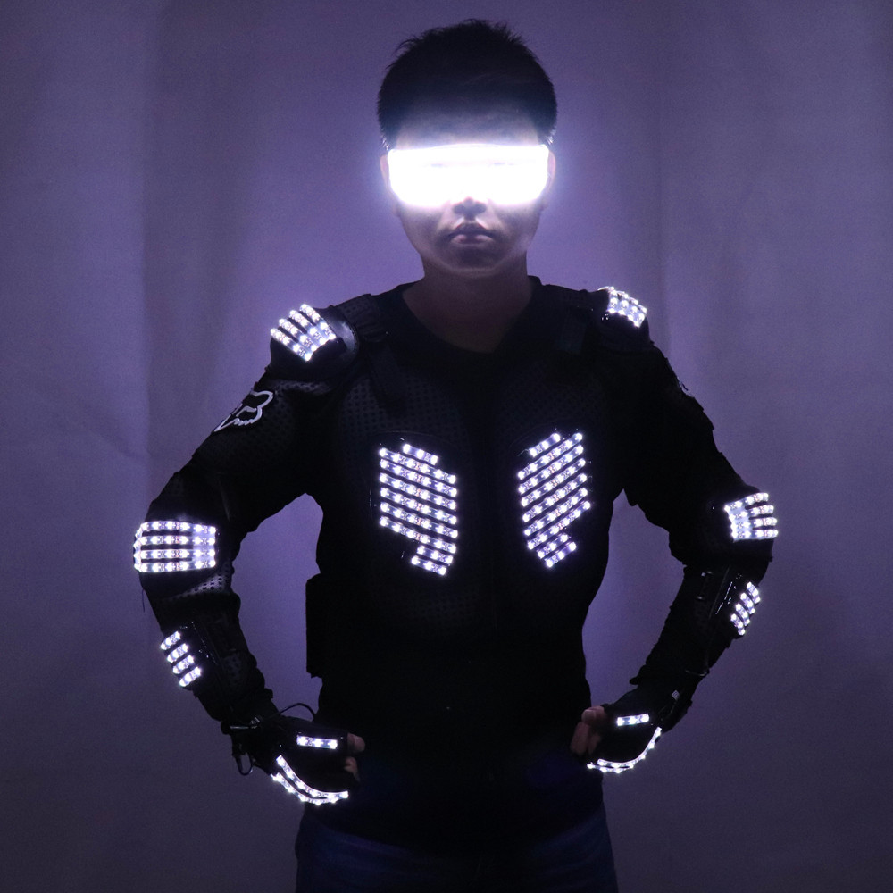 Ny Ankomst Mote LED Armour Light Up Jakker Kostyme Hanske Glasses Led Outfit Klær Ledetøy For LED Robotdrakter