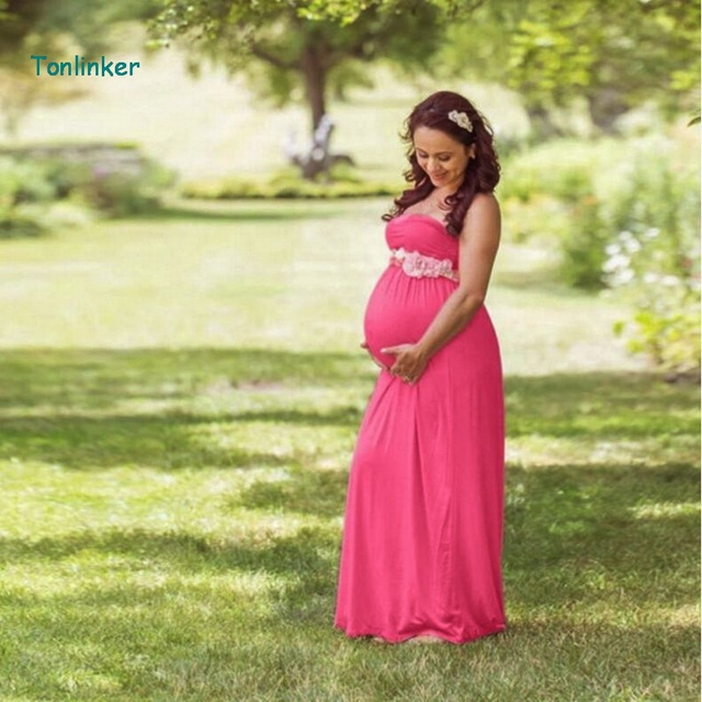 cee9eb2e6e Tonlinker new Maternity Dress For Photo Shoot strapless Dress 3-colour Maxi  Fitted vintage Maternity Dresses Photography Props