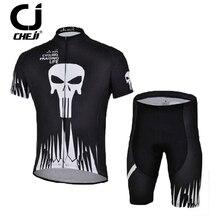 CHEJI Black Men's Bike Jersey Bicycle Short Jersey Skull cycling jersey mountain bike Short sleeve maillot cycling clothing