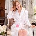 Vendas quentes. novas Mulheres Sleepwear Robe Salão Sono Algodão Com Decote Em V Manga Longa Kimono Robe Roupão de Banho das Mulheres de Roupas Em Casa