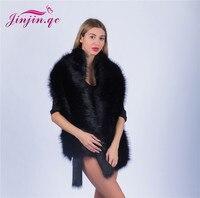 Jinjin.QC Winter Faux Fur Coats luxury fox fur imitation mink fur poncho bridal wedding dress shawl cape women vest fur coat
