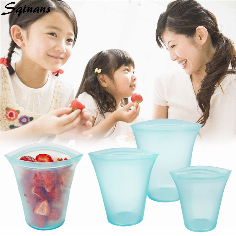 Sqinans 3pcs/Set Kitchen Storage Zip Top Containers Reusable Zip Silicone Food Storage Containers Leakproof Zip Lock Containers