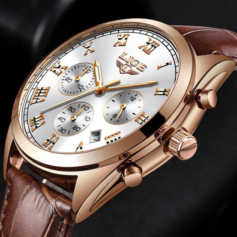 2abd65ac204 Reloj Masculino de cuero romano numerales Estilo vintage 2018 LIGE reloj de  cuarzo relojes para hombre
