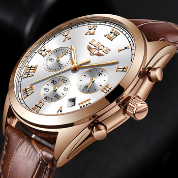 5a4572aa6970 LIGE Mens relojes Top marca de lujo impermeable 24 fecha hora cuarzo reloj  de hombre de cuero reloj hombres impermeable reloj 2018