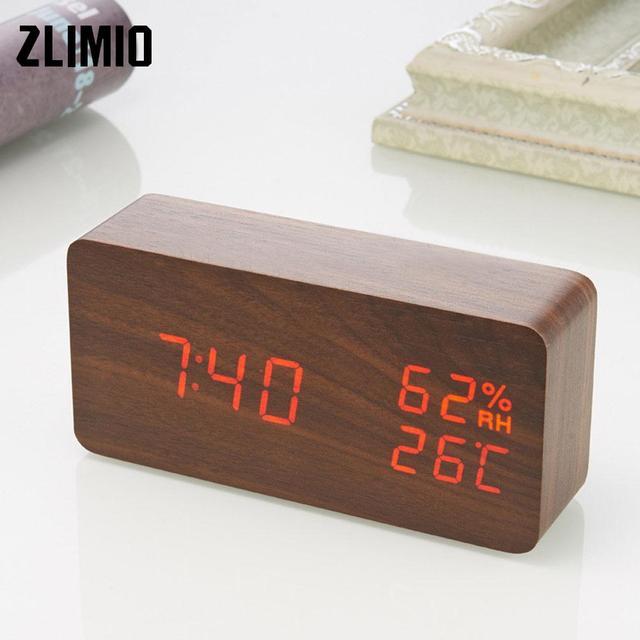 Modern Wooden Clock Voice Control Digital alarm clock snooze led light clock Electronic table Watch Wood Bedside Alarm Clock