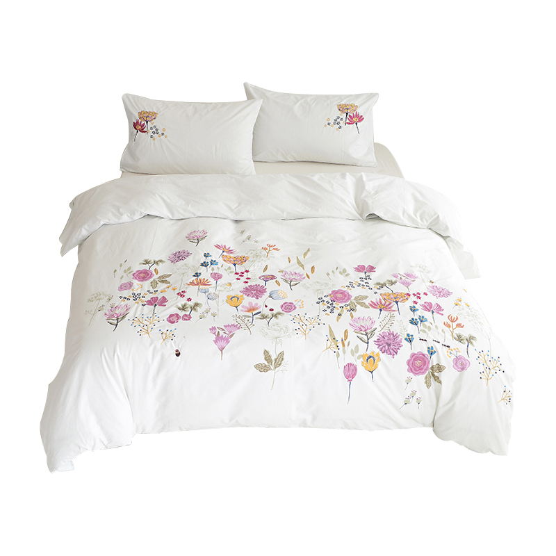 Soft Cotton Embroidery Duvet Cover Set Hotel Quality&Hypoallergenic Duvet Cover With Button Closure & Matching Shams King/White