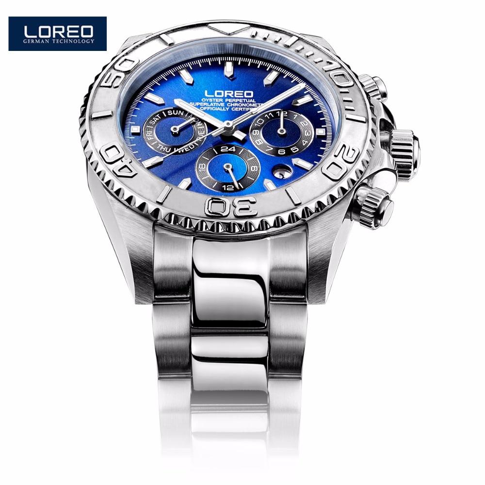 LOREO Fashion Luxury Brand Men Luminous Watches Mechanical Watch Waterproof 200 m Male Wristwatch Relogio Masculino K42