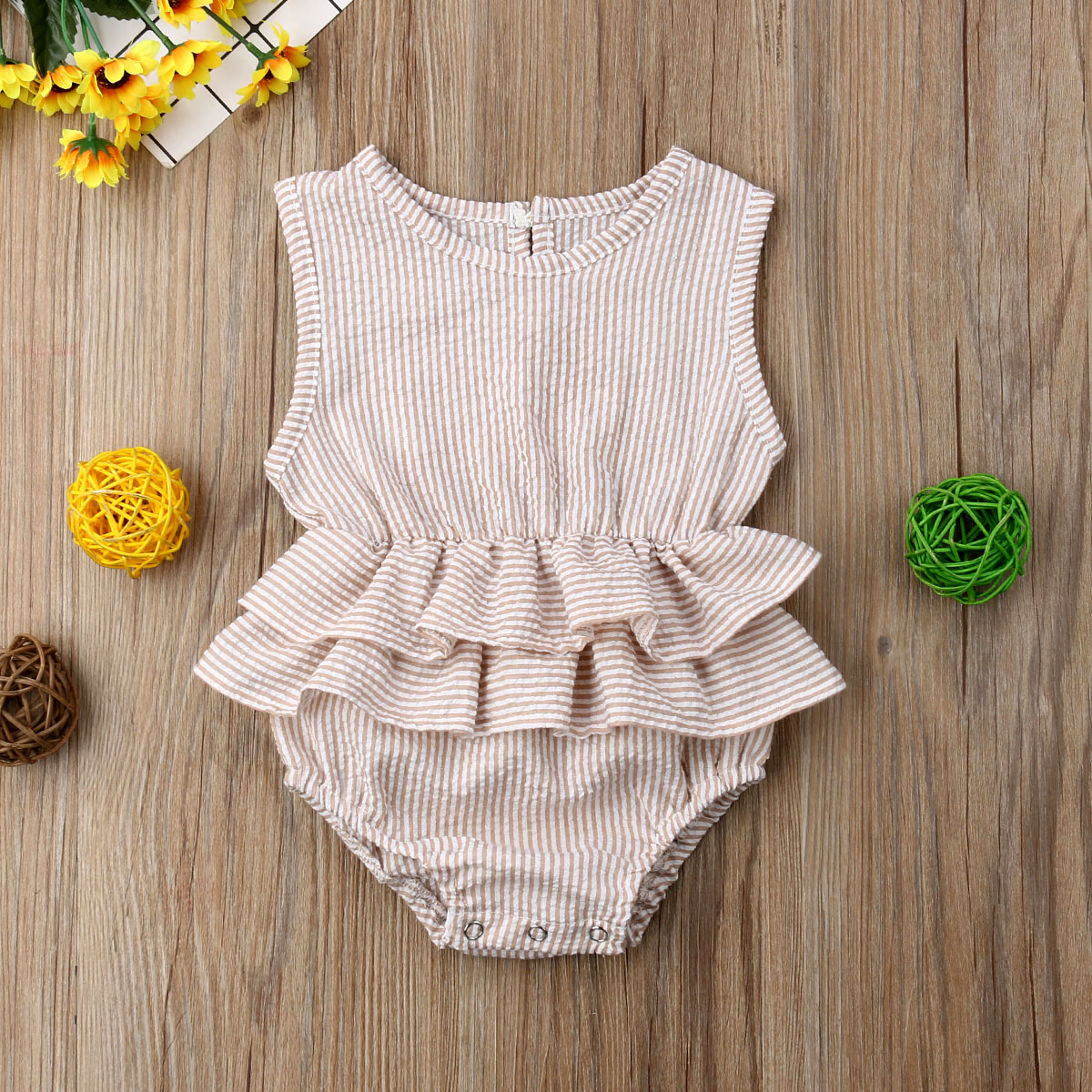 Newborn Kids Baby Girls Clothes Sleeveless   Romper   Cotton Linen   Rompers   Outfit Summer